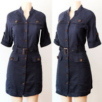 NEW Forever 21 Navy Blue 100% Cotton Belt Button Down Safari Utility Shirt Dress