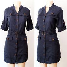 NEW Forever 21 Navy Blue 100% Cotton Belt Button Down Safari Utility Shirt Dress