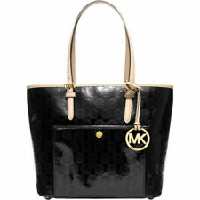 Michael Kors Jet Set Signature Metallic Medium Snap Pocket Tote Black