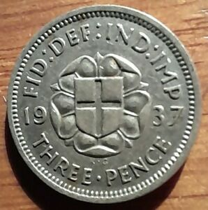 1937 Silver Threepence 3d - King George VI - Great condition