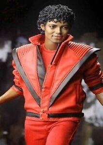 MJ Michael Jackson Thriller Mens Red Real Leather Jacket
