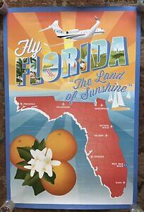 Scarce, Large, 2014 Gulfstream Aerospace G650 Art Poster, Fly Florida - 24x36