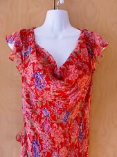 Dress Silk Floral Beaded Size Sz S 12 Sequin Cocktail Vintage RED