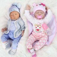22' Twins Reborn Baby Dolls Newborn Babies Vinyl Silicone Handmad Doll Girl+Boy