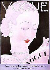 Vogue.Beauty.Reading Vogue.Retro.Vintage.Fashion.Costume.Art.Artist.Print