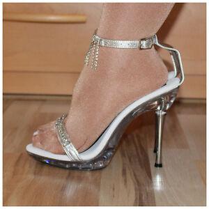 Pleaser Sandaletten Gr. 36 + 37 High Heels Excite-463 silberfarben (#2147)