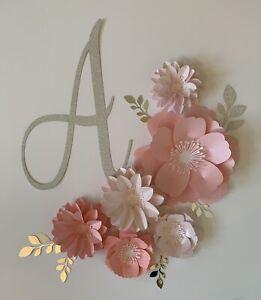 Blush/Pink Paper Flower Set Wall Decor Backdrop Nursery Bedroom Party Dec