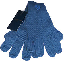 New HENRI LLOYD Mens Knitted Wool GLOVES Cambourne Wool Petrol Blue L