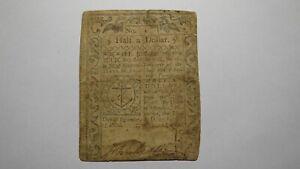 1776 One Half Dollar Rhode Island RI Colonial Currency Bank Note Bill $1/2 RARE