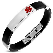 Stainless Steel With Black Rubber Medical ID Bracelet
