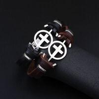 Men's Braided Leather Stainless Steel Cross Charm Wristband Prayer Bracelet