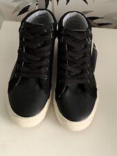 M&S Boys Black Hi-Top Shoes size 6 BNWT Cost £28