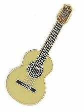Mini Pin Classical Guitar Cedar Brooch Lapel Badge Guitarist Music Gift Present