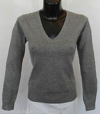 AQUASCUTUM Ladies Fine DAMAS V NECK Jumper Sweater sz L GREY BNWT