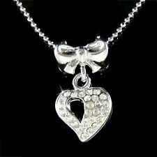 Dainty NEW w Swarovski Crystal ~Love HEART~ Bow Valentine Lover pendant Necklace