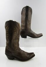 Ladies Old West Brown Leather Cowgirl Boots Size : 7