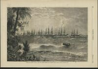 Port Royal South Carolina United States Navy 1876 antique wood engraved print