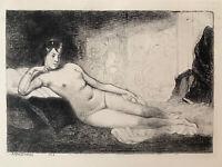 Angèle Delasalle gravure eau forte etching Étude De Femme Nue Nu Féminin Allongé