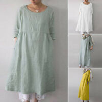 ZANZEA Women 3/4 Sleeve Casual Long Shirt Dress Plain Loose Oversize Blouse Tops