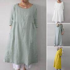 ZANZEA Women 3/4 Sleeve Casual Long Shirt Dress Plain Loose Oversize Blouse Tops