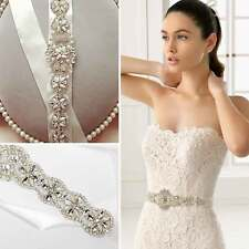 Vintage Crystal Bridal Sash Rhinestone Pearl Beaded Wedding Dress Belt Luxury UK