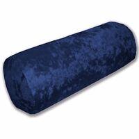 Mv19g Blue Diamond Crushed Shimmer Velvet Bolster Cover Neck Roll Yoga Case Size