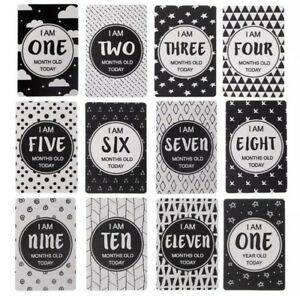 Monochrome Baby Milestone Age Cards Set Of 12