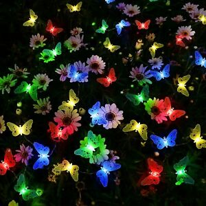 Solar Powered Butterfly LED Garden String Fairy Lights Waterproof Outdoor Party