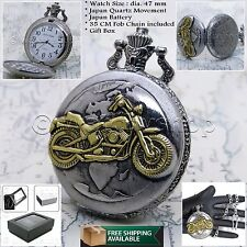 Silver Antique Mens Pocket Watch Motor Bike Steampunk Fob Chain Gift Box P25