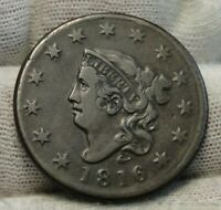 1816 Penny Coronet Large Cent - Nice Coin, Free Shipping  (9279)