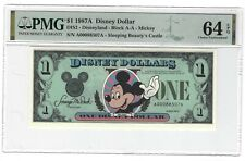 1987A $1 Note, Disney Dollar, Mickey, Sleeping Beauty's Castle, PMG 64 EPQ