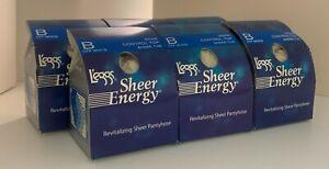 6 pr Leggs Sheer Energy Control Top Pantyhose Size B Off White - NEW