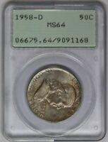 1958-D PCGS 50C Silver Franklin Half Dollar MS64 OGH Green Label Rattler Holder