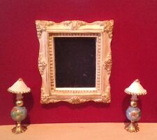 Dollhouse Miniature Ornate Mirror & Pair Handcrafted non-electric Lamps 1:12