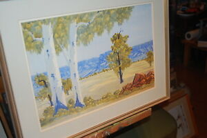 Large original Lindberg Inkamala water colour painting of the McDonald Ranges.