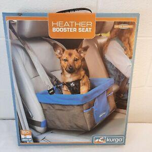 Kurgo Heather Booster Dog Car Seat Blue Black Seat Belt Tether Max 30 lb