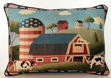 Americana - Country Life, Barn, Silo, Cows, Stars & Stripes Tapestry Pillow New!