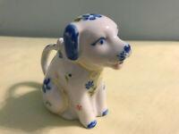 """Vintage Blue Floral Porcelain Individual Dog Creamer 3"""" Unmarked"""
