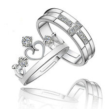 Prince Princess Couple Rings Silver  His and Her Promise Wedding Band Ring USA