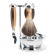 Muhle VIVO Faux Horn Set - Stand, Bowl, Gillette Fusion Razor, Shaving brush