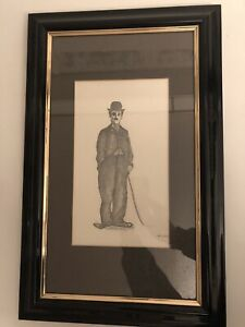 One Of A Kind - Charlie Chaplin Penil Drawing In Frame