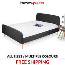 NEW King Queen Double Size Scandinavian Bed Frame in Charcoal, Grey & Off White