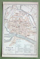 1903 MAP ORIGINAL Baedeker - ITALY Pavia City Plan