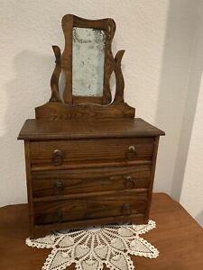 Converse Oak Toy 3 drawer dresser with removable mirror, ca. early 1900's