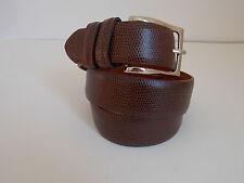 "M Size 32-34 Men's Brown Textured Genuine Leather Belt Width 1 1/4"""