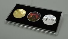 More details for set of stonehenge silver, gold & colour commemoratives in 50p display case/stand