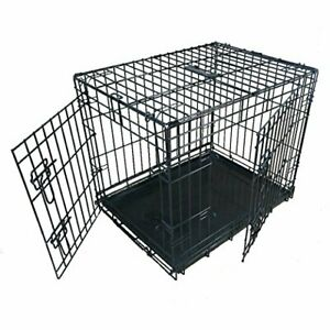Ellie-Bo Dog Puppy Cage Small 24 inch Black Folding 2 Door Crate with Non-Chew