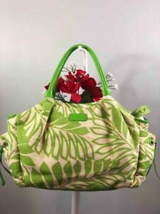 """KATE SPADE """"Stevie"""" Leaf Green/ Cream Canvas w. Patent Leather Diaper Baby Bag"""