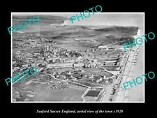 OLD LARGE HISTORIC PHOTO OF SEAFORD SUSSEX ENGLAND, AERIAL VIEW OF TOWN c1920