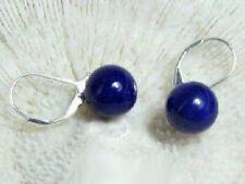 10mm lapis lazuli 18KWGP Leverback Hook Dangle Earrings